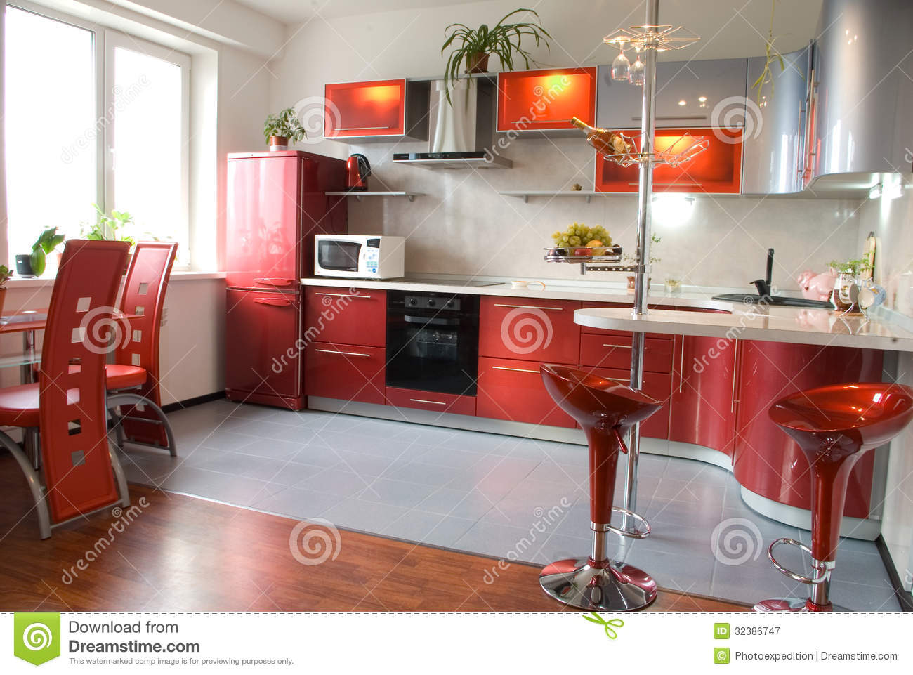 Interior of modern kitchen with a bar counter in red tones - Cocina para bar ...