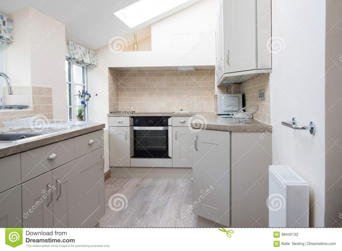 Empty Interior Of Modern Kitchen In Home Stock Photo - Image of