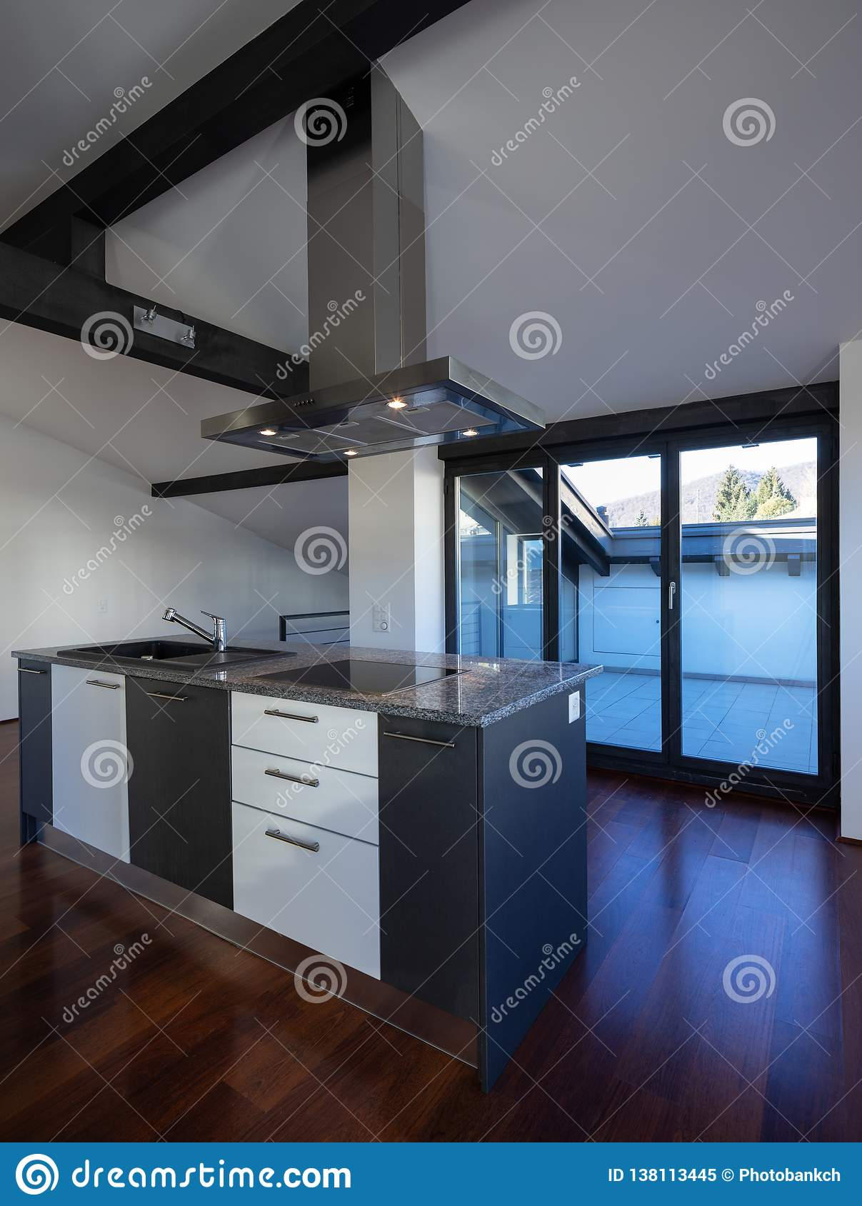 Interior Of A Modern Kitchen In Old House Stock Image Island 138113445