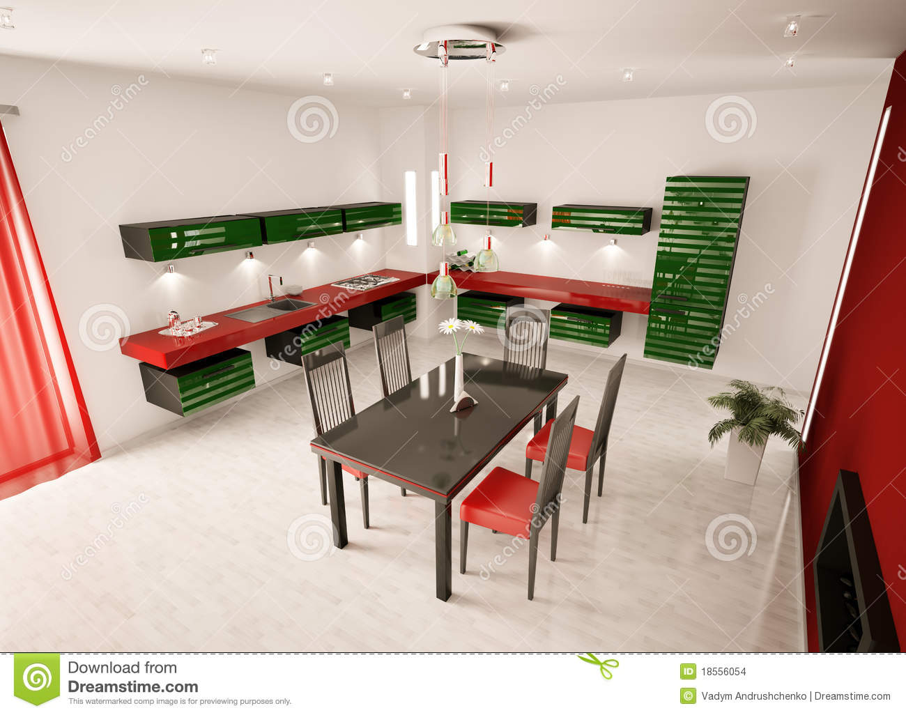 Kitchen Top Interior Of Modern Kitchen Top View 3d Render Stock Images Image