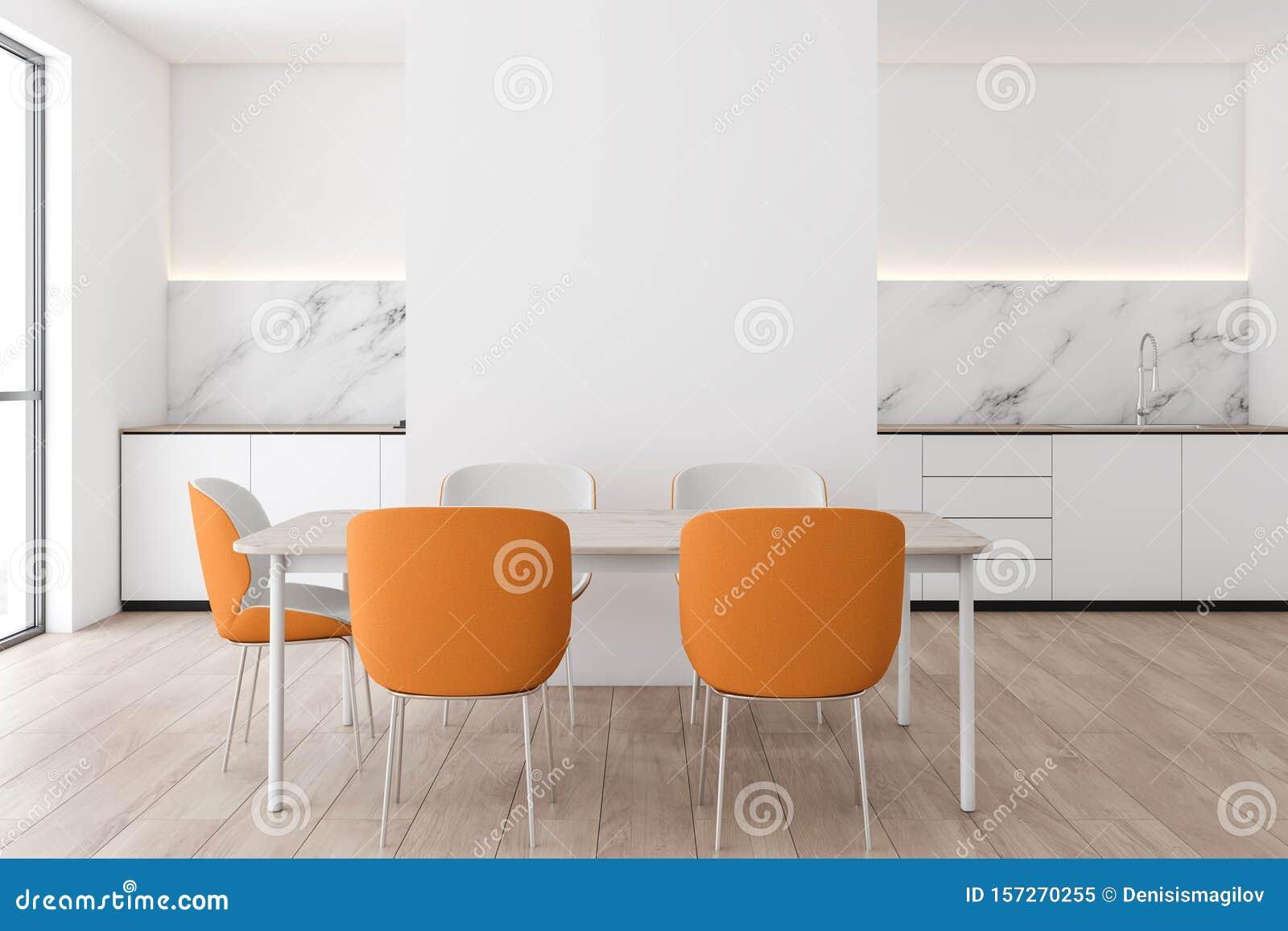 White Marble Kitchen Interior With Orange Chairs Stock Illustration Illustration Of Elegant Contemporary 157270255
