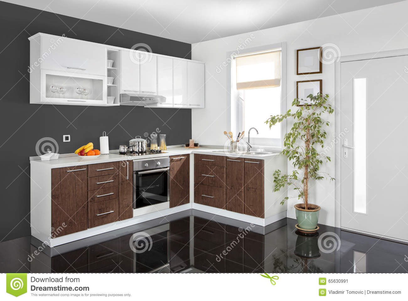 Interior of a modern kitchen wooden furniture simple and for Mobilia kitchen