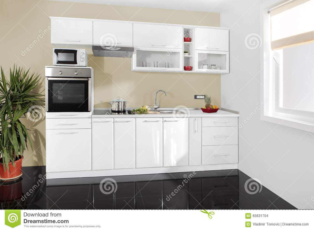 Interior of a modern kitchen wooden furniture simple and for Cuisine simple et moderne