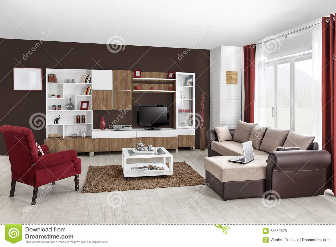 Interior of a modern living room in color stock photo - Modern colors for living room ...