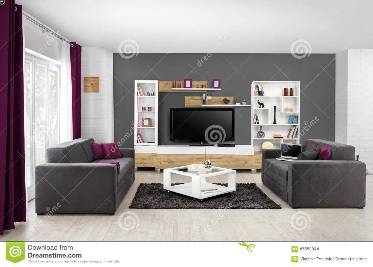 Interior of a modern living room in color stock photo - Les couleurs du salon ...