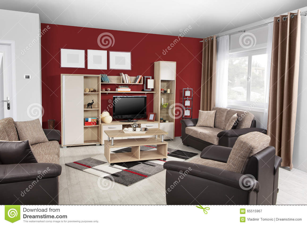interior of a modern living room in color stock photo image