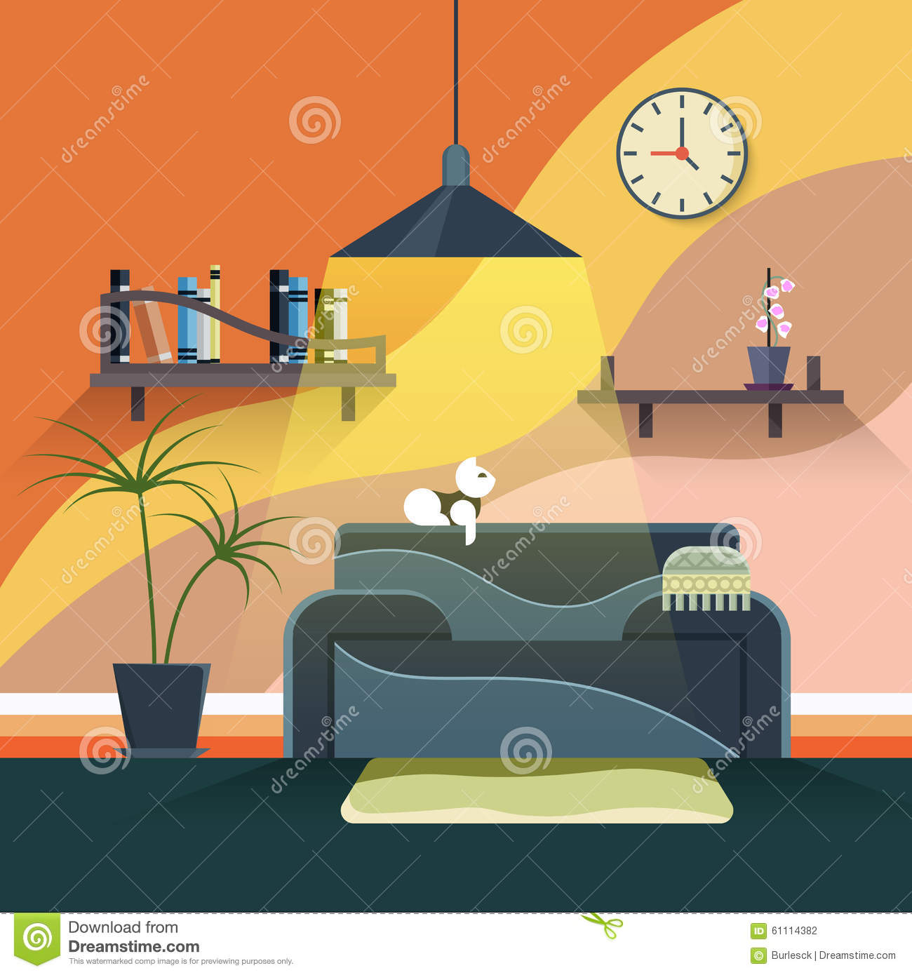 Interior of modern living room in flat design stock vector for Room design vector