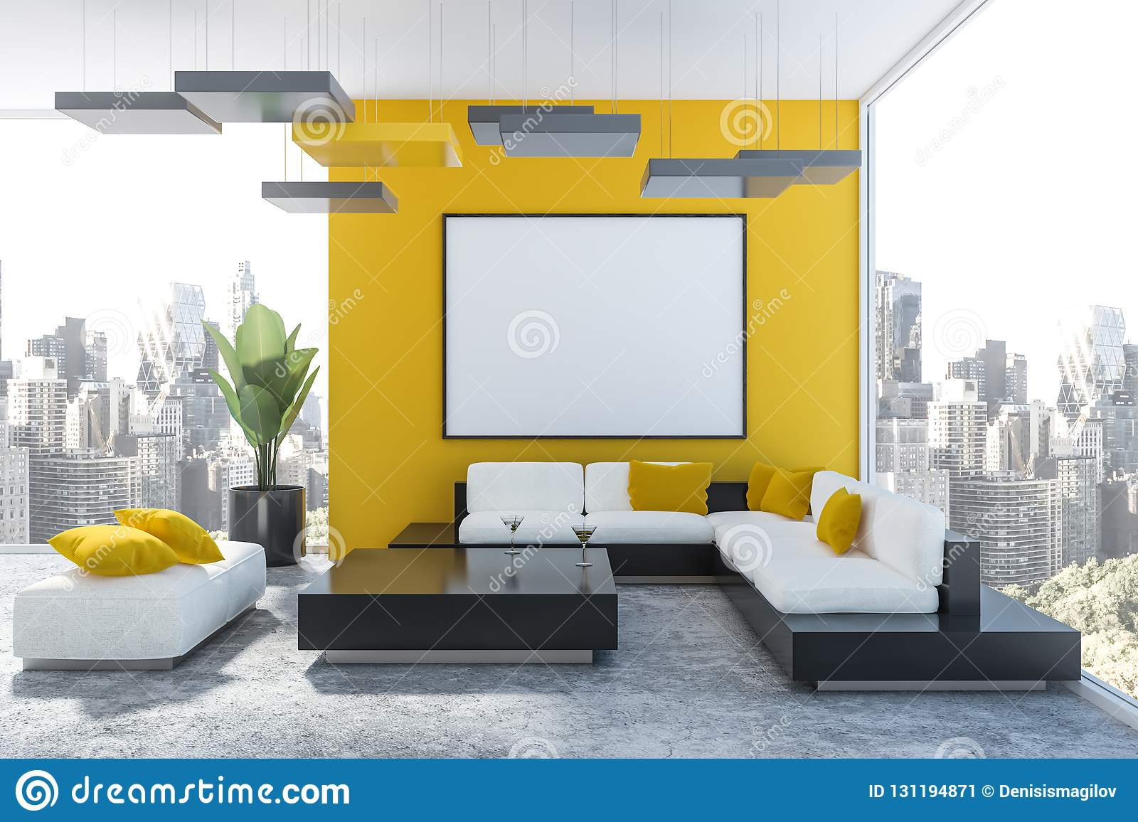 Yellow Living Room, White Sofa And Poster Stock Illustration ...