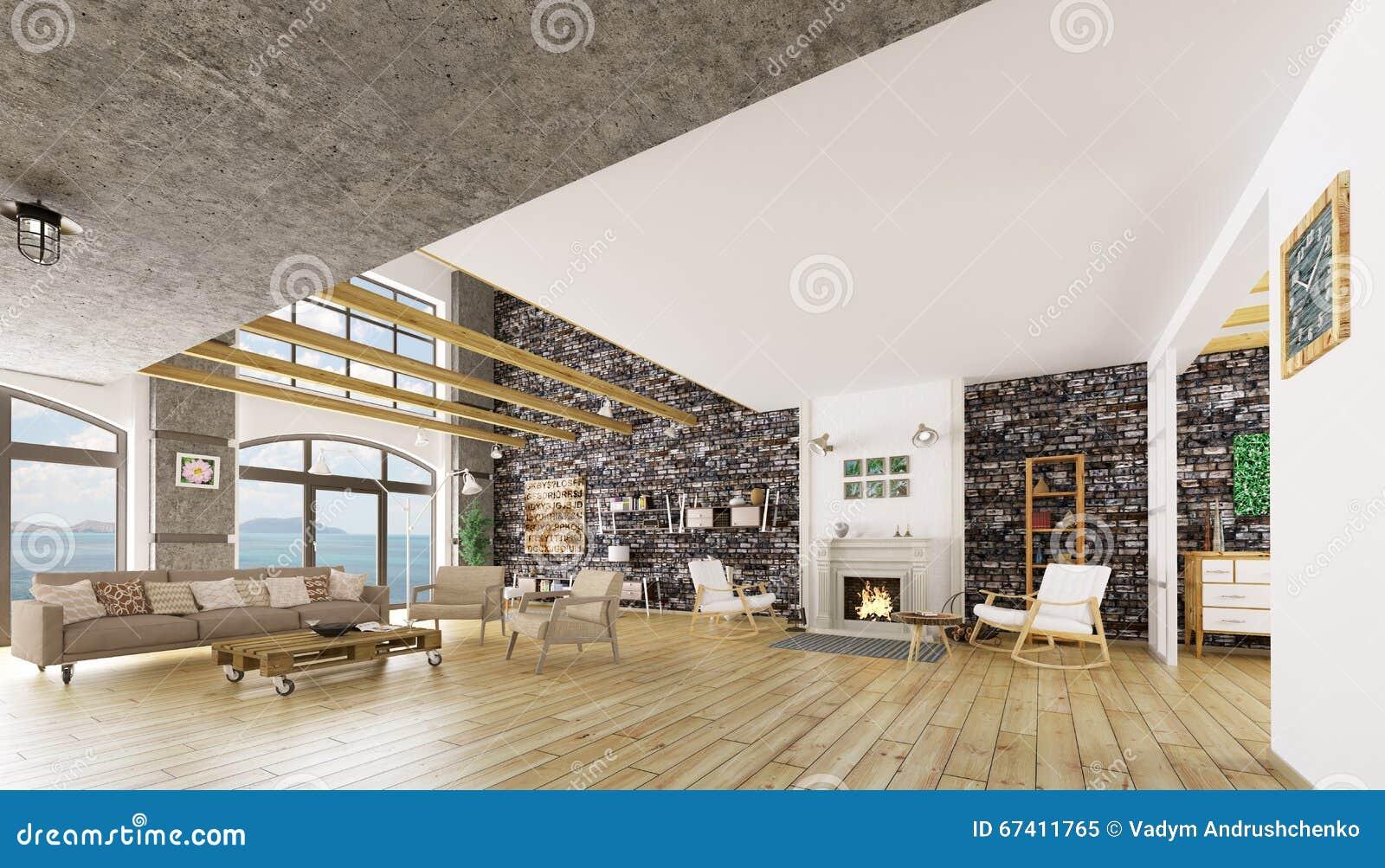 Interior of modern loft apartment d render stock illustration