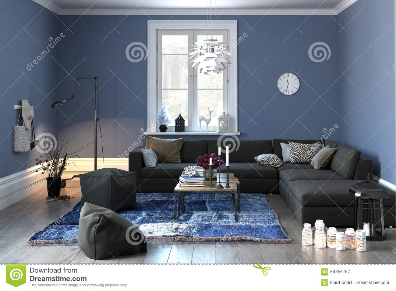 Interior Of A Modern Lounge In Grey And Blue