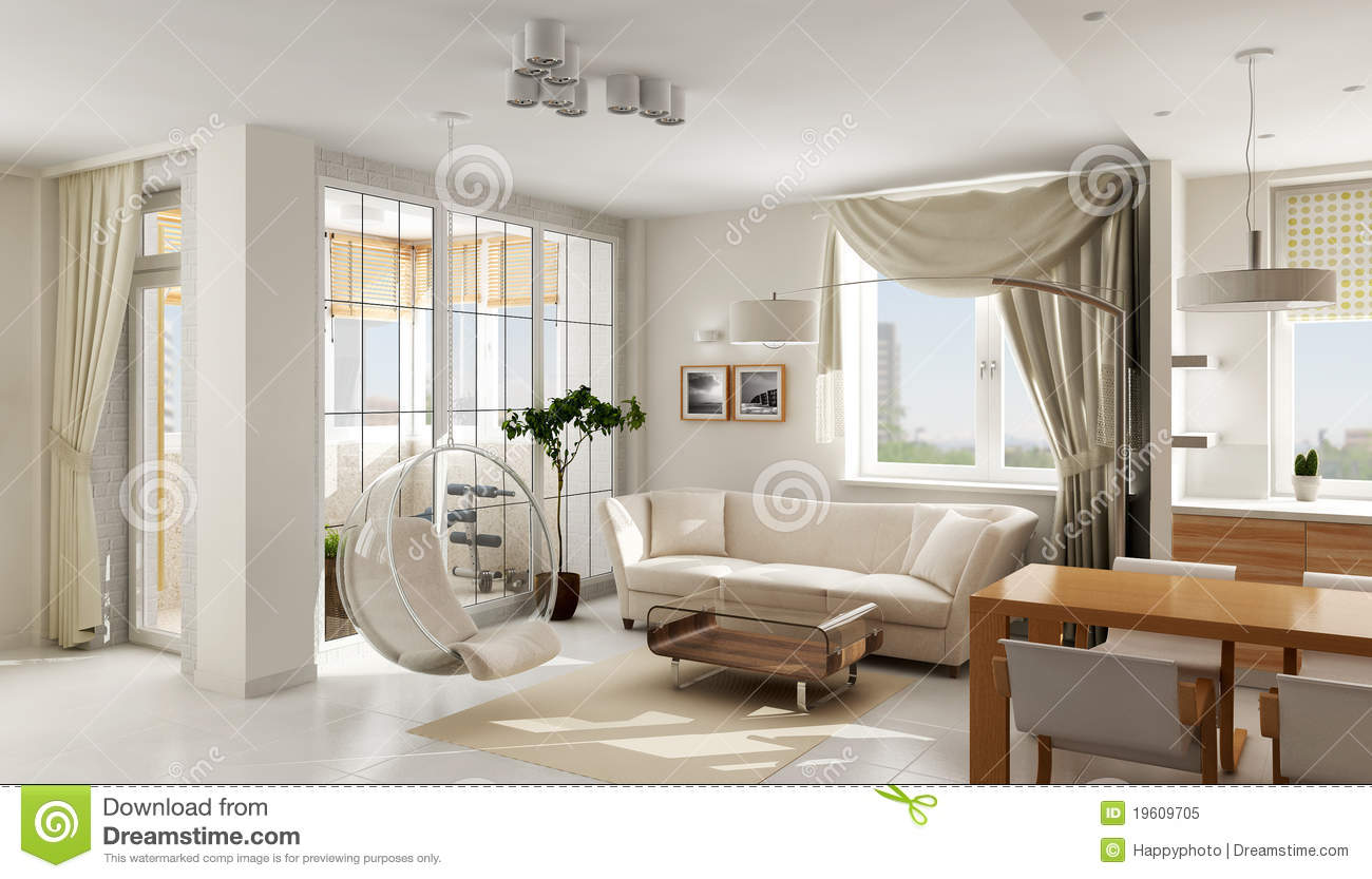 Interior of modern luxury apartment stock illustration for Luxury flats interior