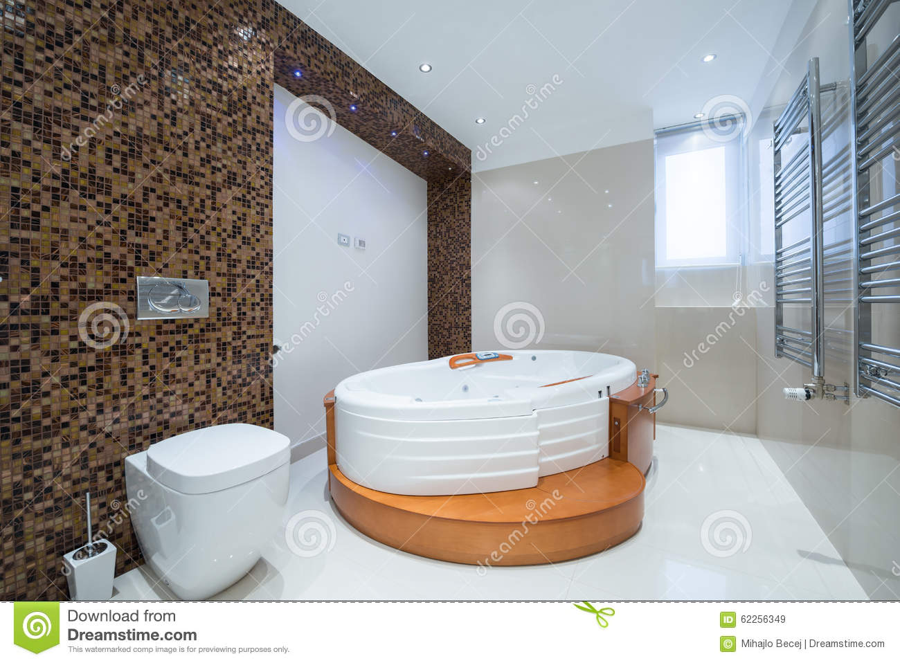 Interior of a modern luxury bathroom with jacuzzi bathtub stock