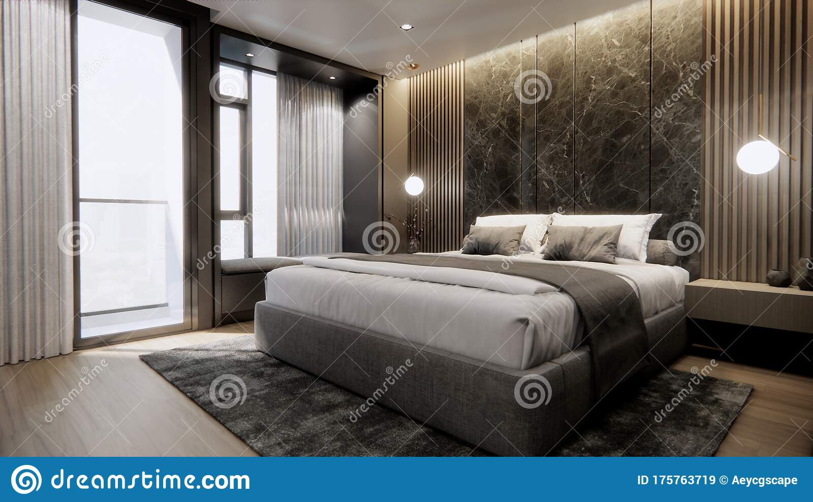 Interior Of Modern Luxury Bedroom With Double Bed And Marble Wall 3d Rendering Stock Illustration Illustration Of Interior Bedroom 175763719