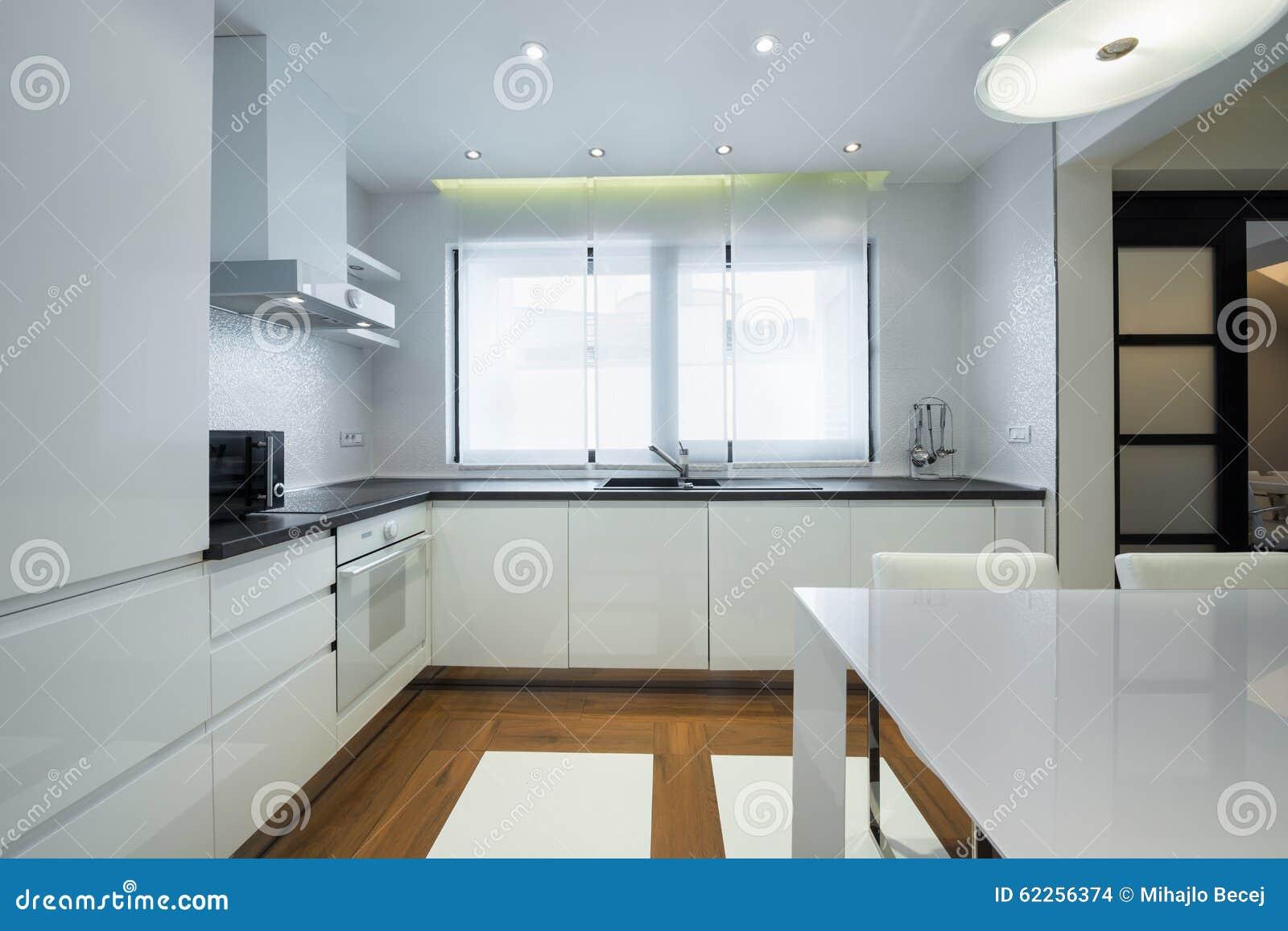 Interior Of A Modern Luxury Bright White Kitchen Stock Photo - Image ...