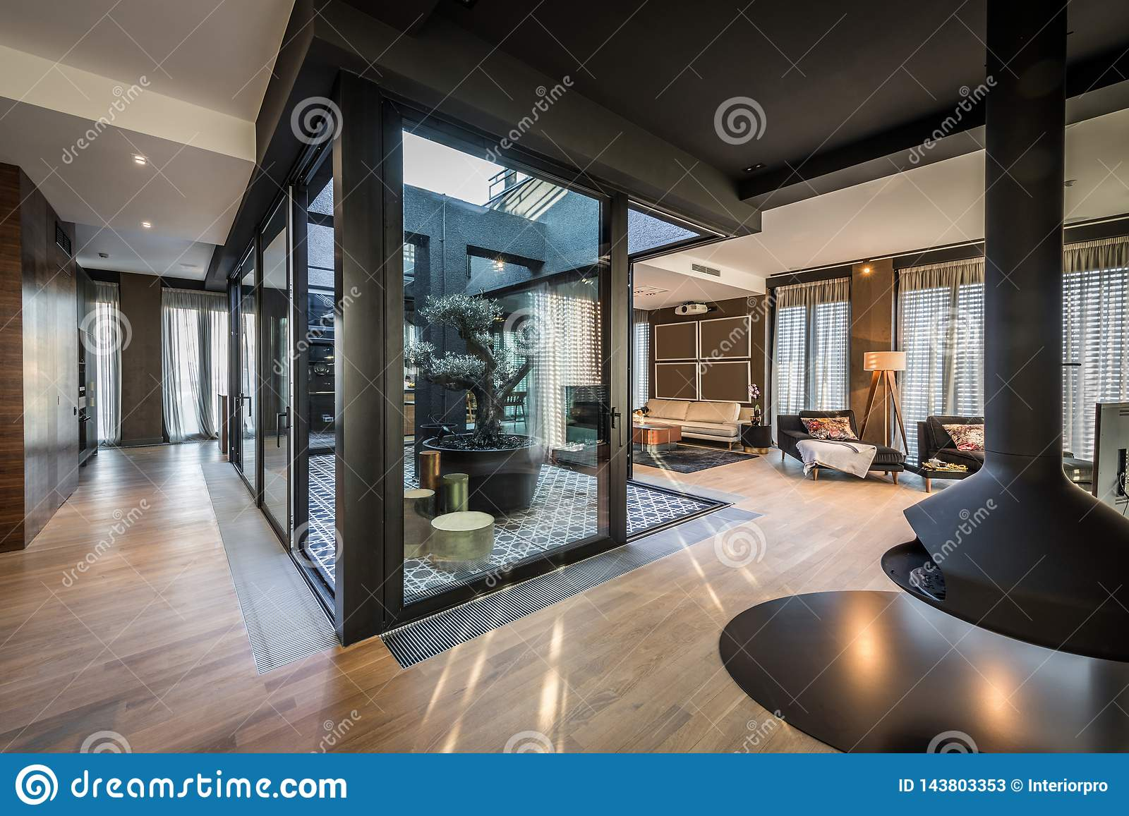 Interior Of Modern Luxury Penthouse Apartment Stock Image Image Of Olive Ceiling 143803353