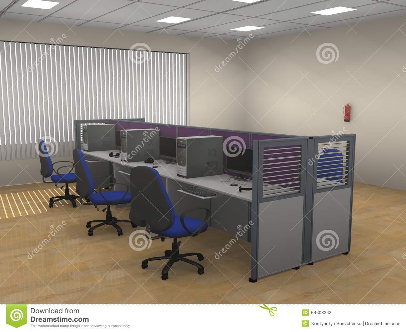 Modern Cubicle Interior Of The Modern Office Cubicle Stock Illustration Image