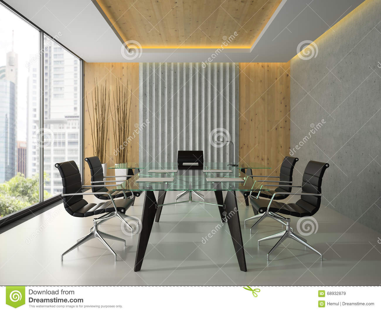 Interior of the modern office with glass table 3d rendering 4 stock