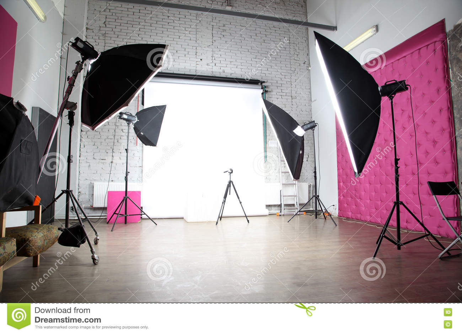 Interior of a modern photo video studio