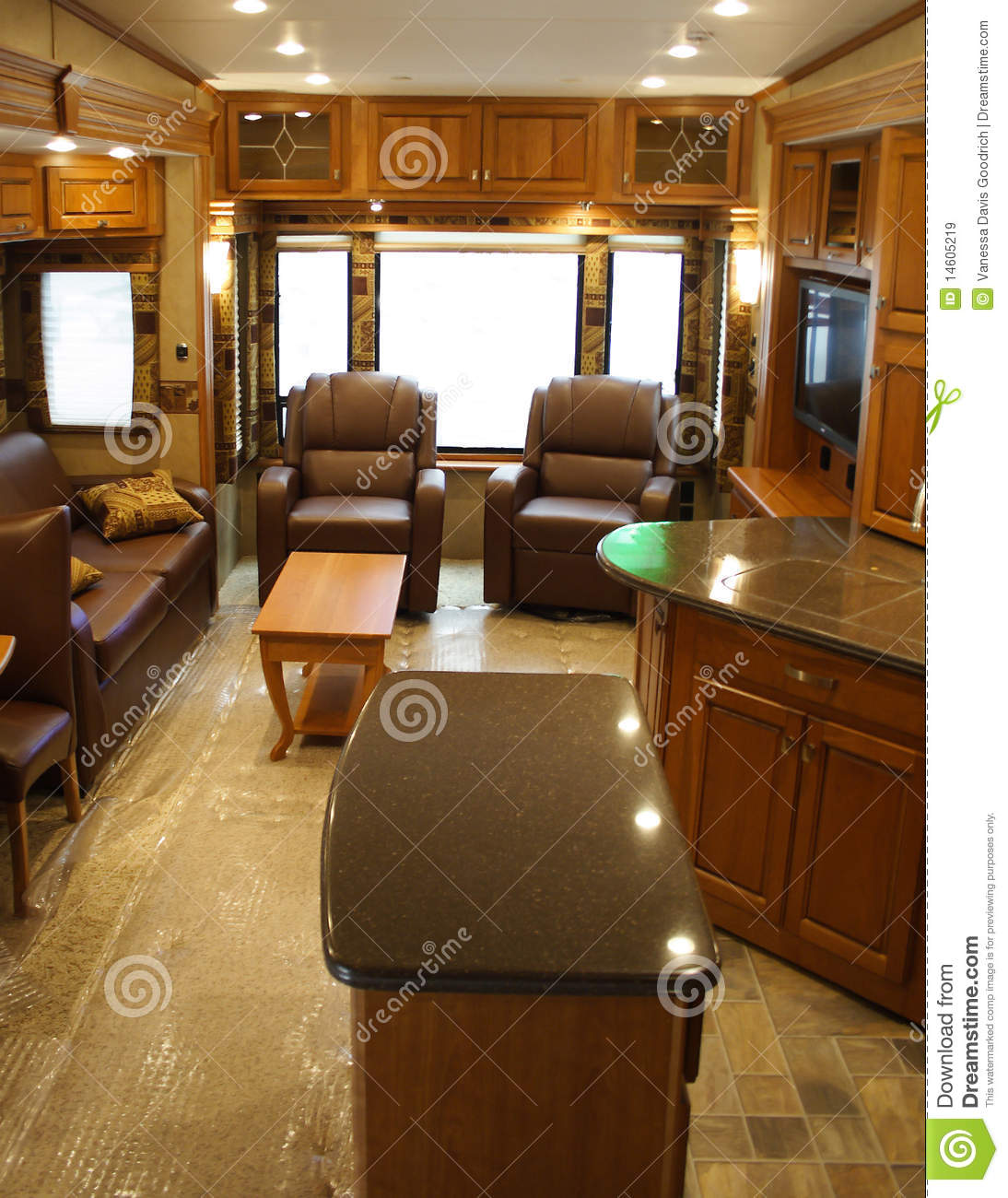 Interior Of Modern Recreational Vehicle Stock Image