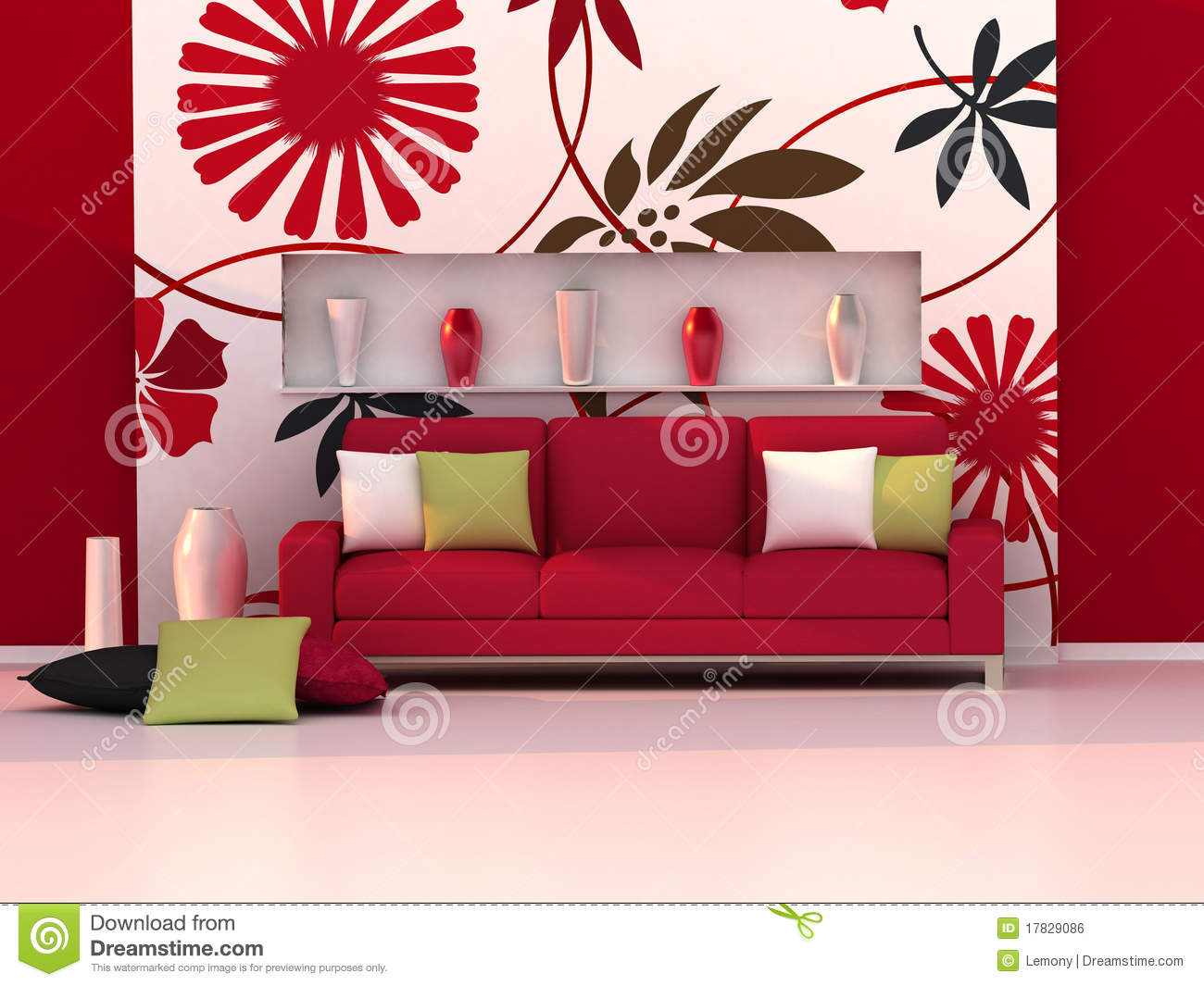 Free Stock Image: Interior of the modern room, floral wall, red sofa | 1300 x 1065 · 136 kB · jpeg
