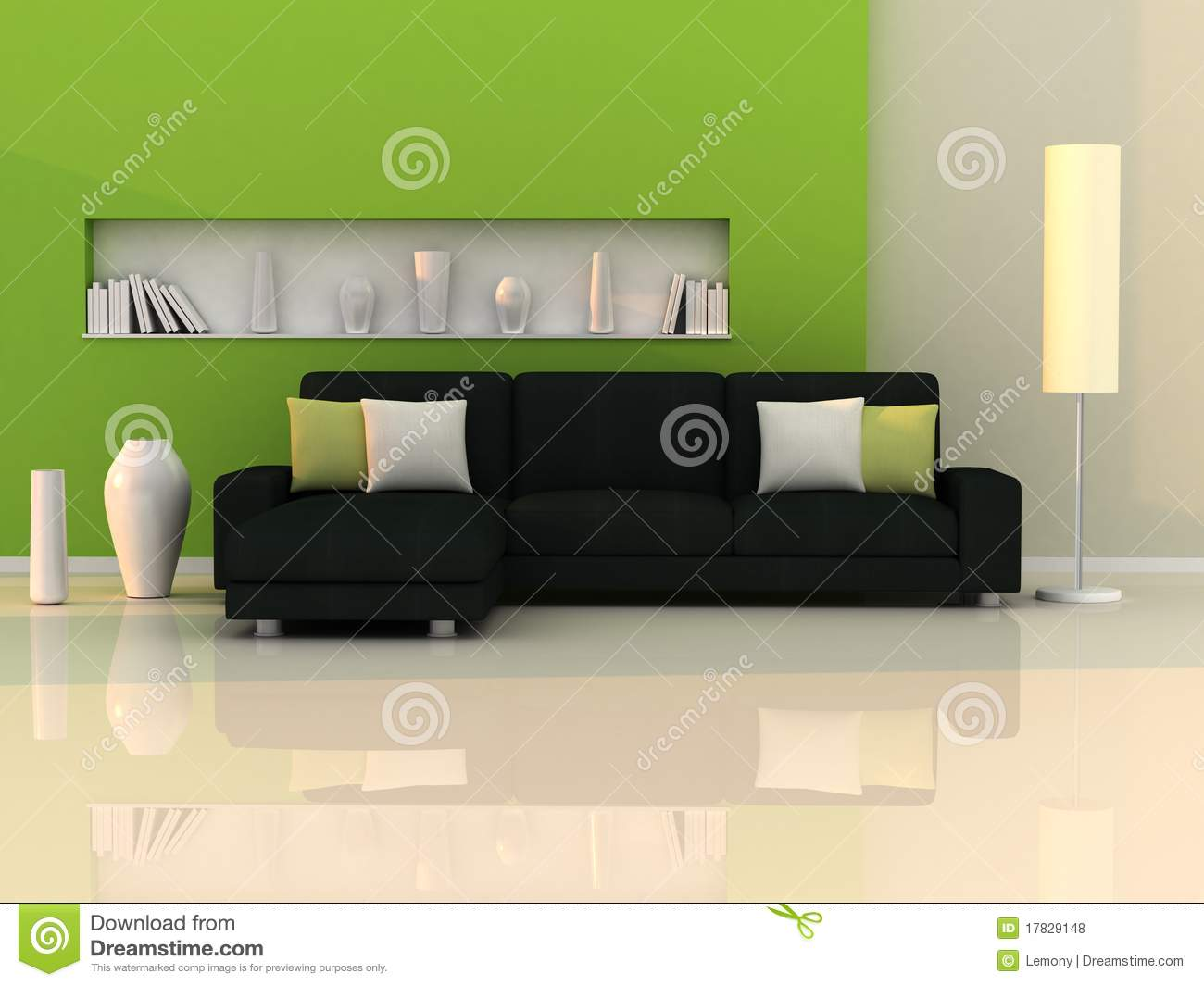 interior of the modern room green wall black sofa stock illustration image 17829148. Black Bedroom Furniture Sets. Home Design Ideas