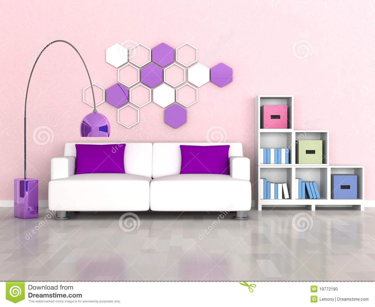 Interior of the modern room pink wall white sofa stock Pink room with white furniture