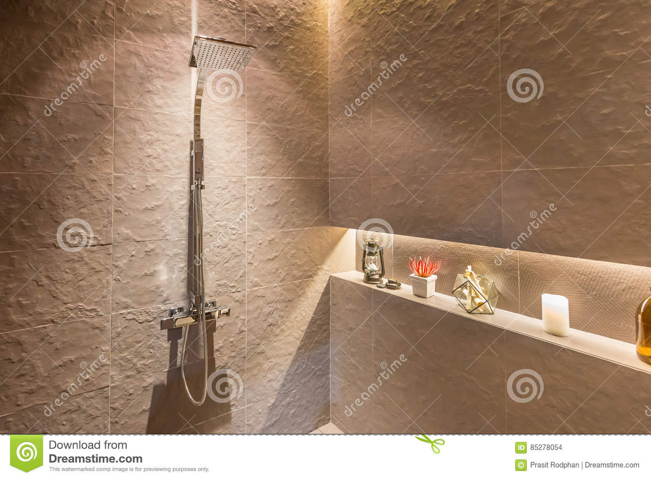 Interior Of Modern Shower Head In Bathroom At Home.Modern Design ...