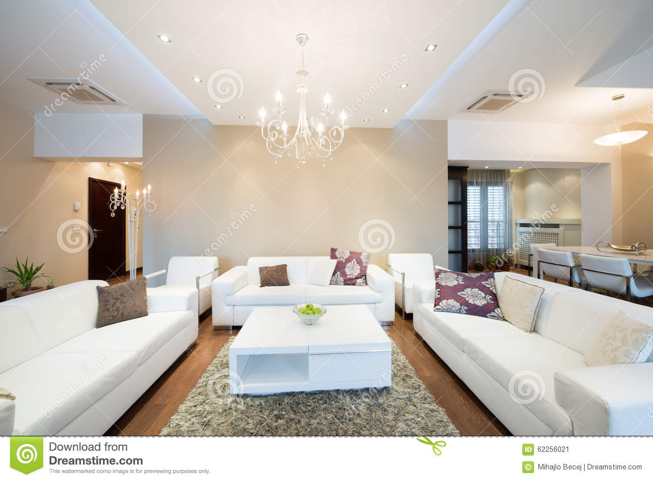 Interior Of A Modern Spacious Living Room Stock Image - Image of ...