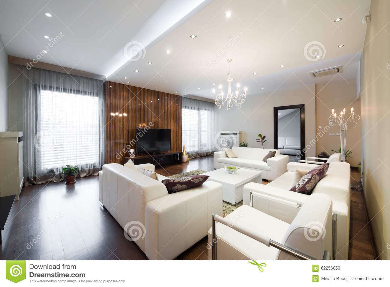 Interior Of A Modern Spacious Living Room Stock Photo - Image of ...