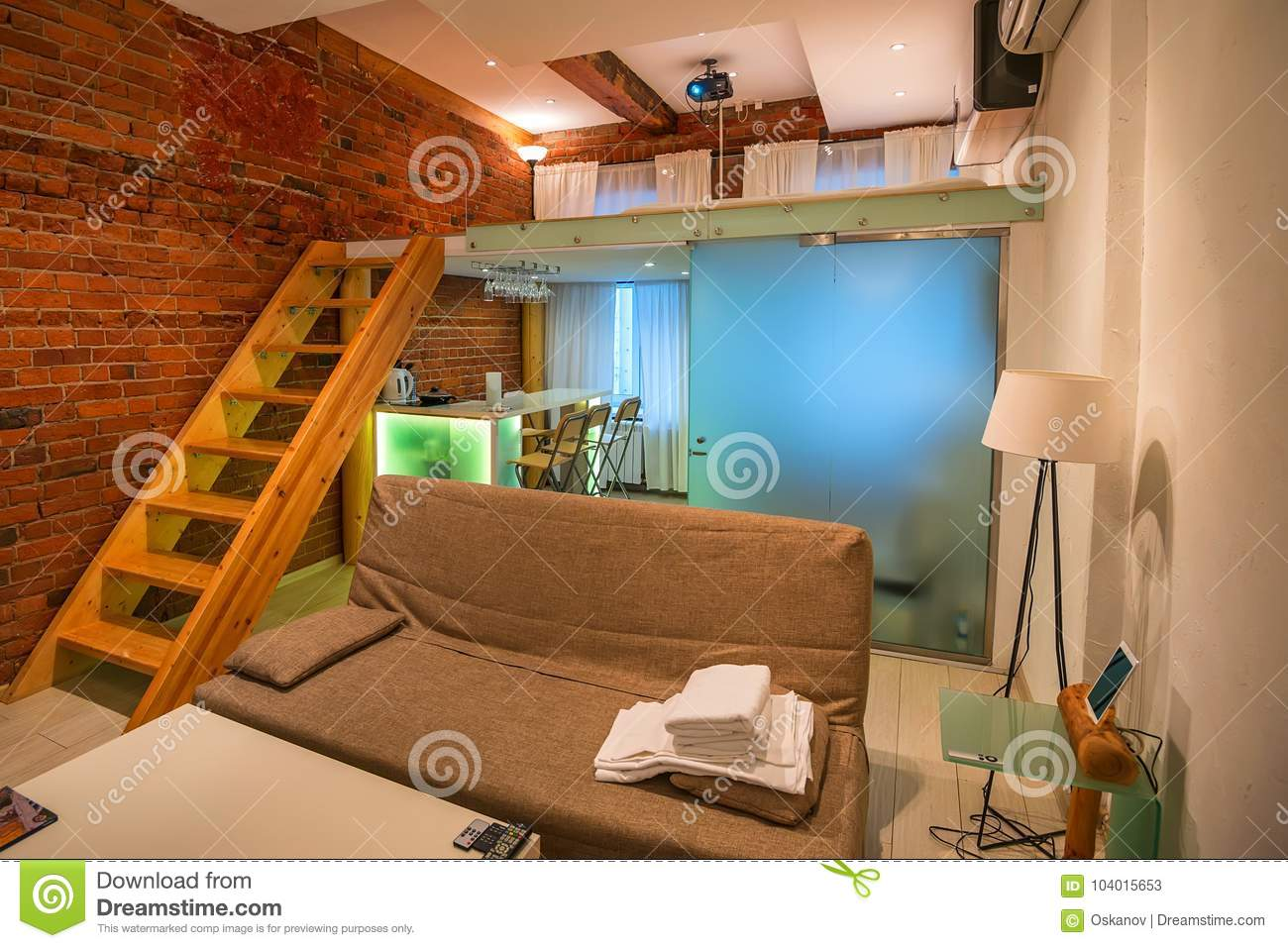 Interior of modern studio apartment