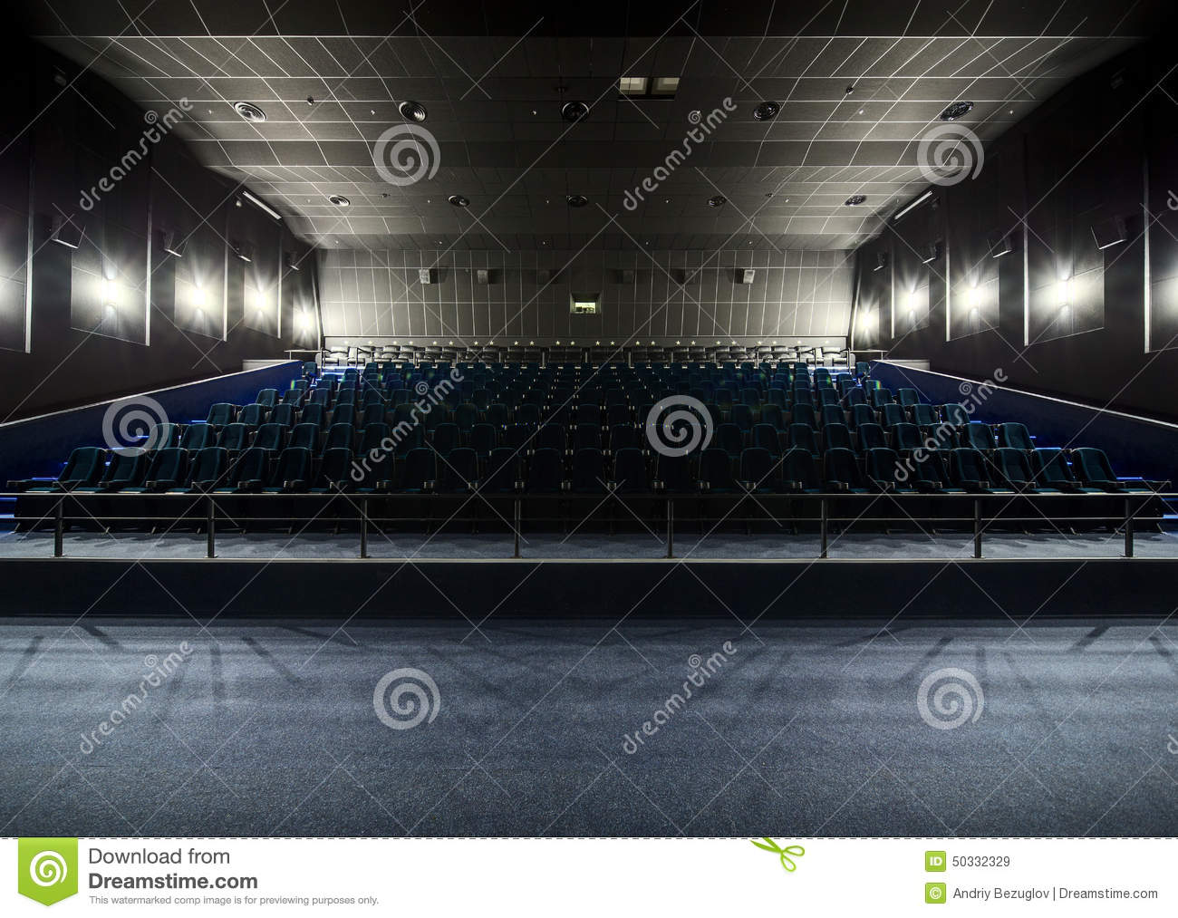 interior of the modern theater view from the stage to the hall stock photo image 50332329. Black Bedroom Furniture Sets. Home Design Ideas