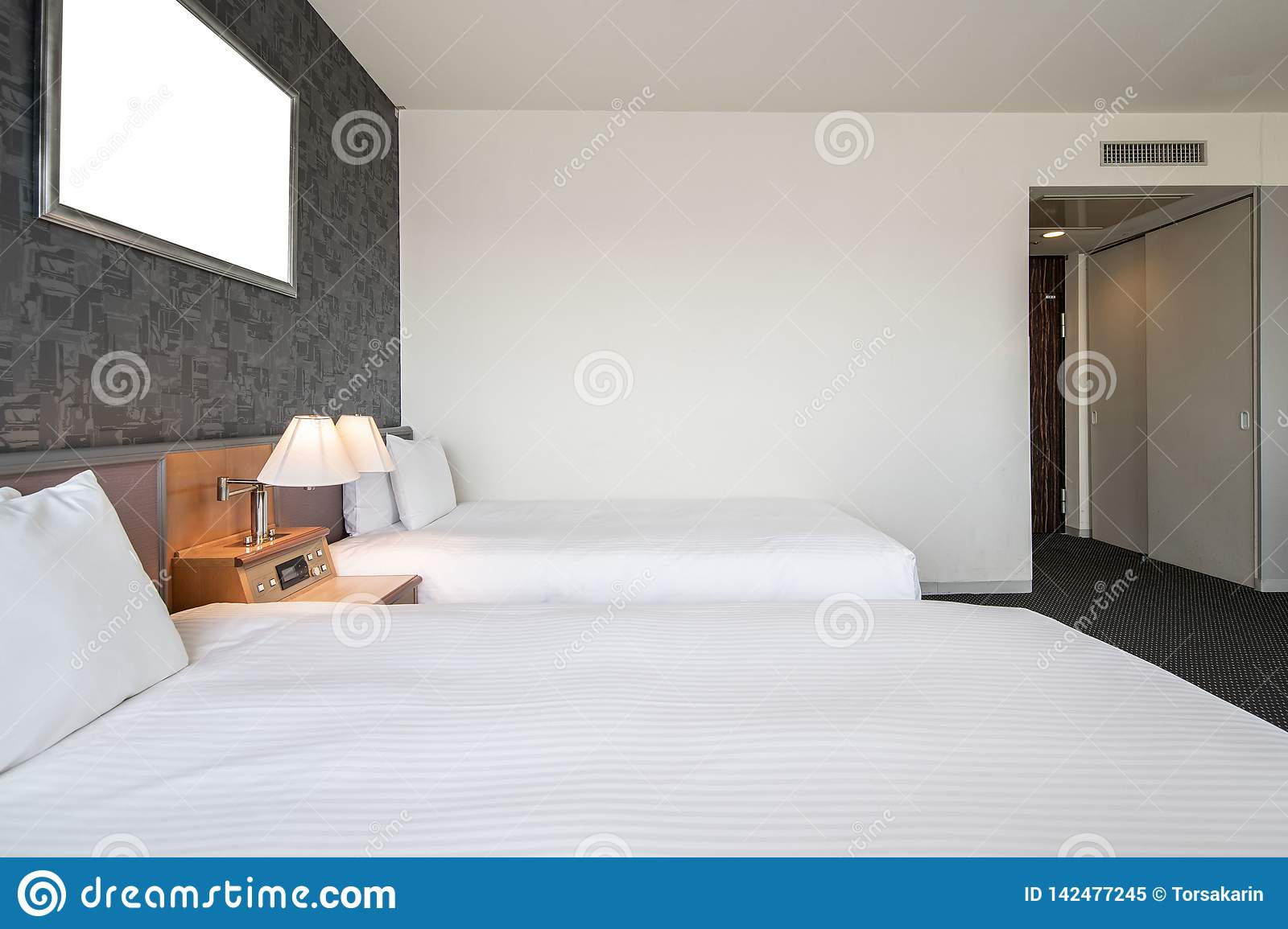 Modern Twin Bedroom Stock Image Image Of Light Front 142477245