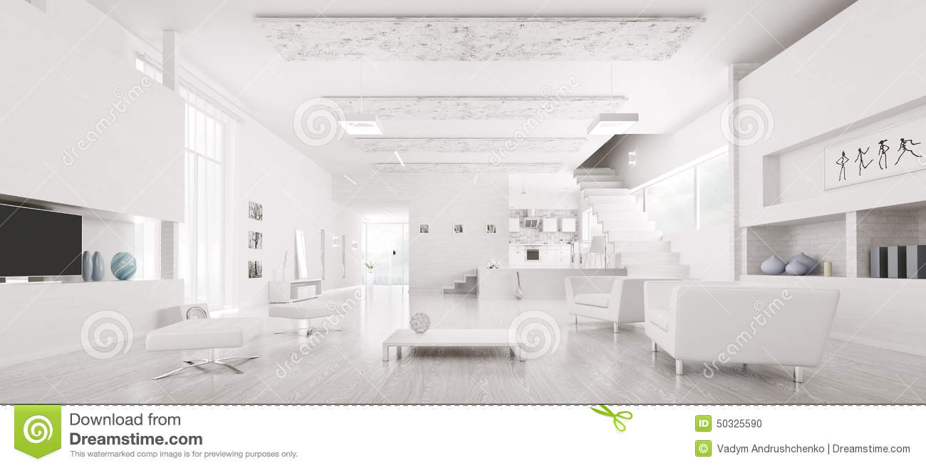 White Apartment interior of modern white apartment panorama royalty free stock