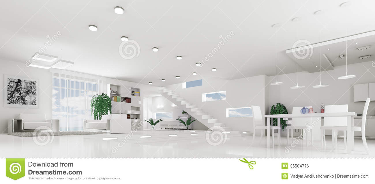 White Apartment modern interior of white apartment panorama 3d stock images