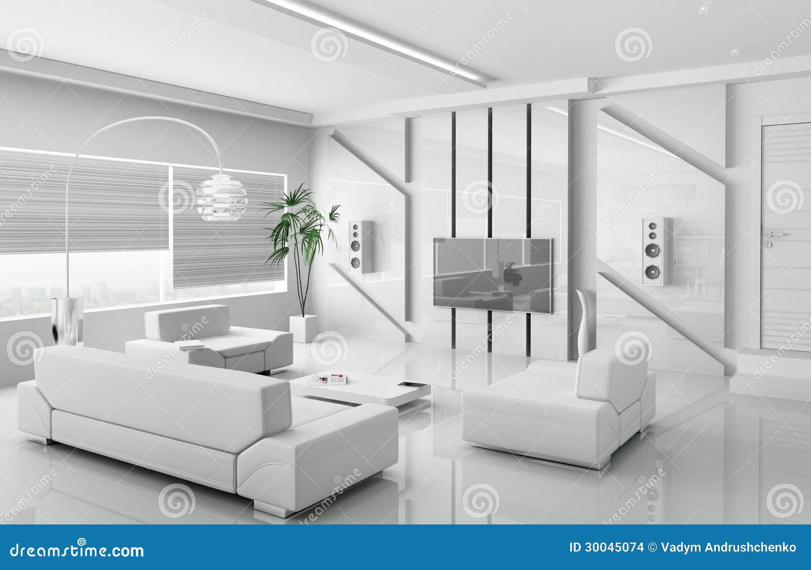 Modern White Living Room Interior 3d Stock Images Image