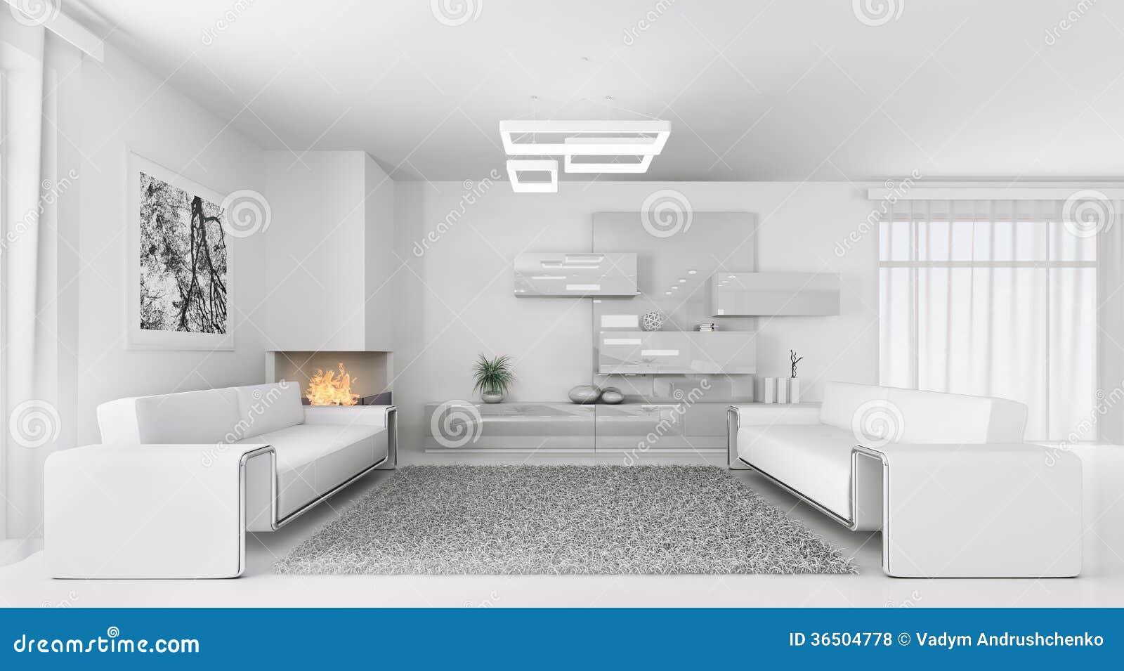 Modern white interior of living room 3d render stock image for Modern white interior