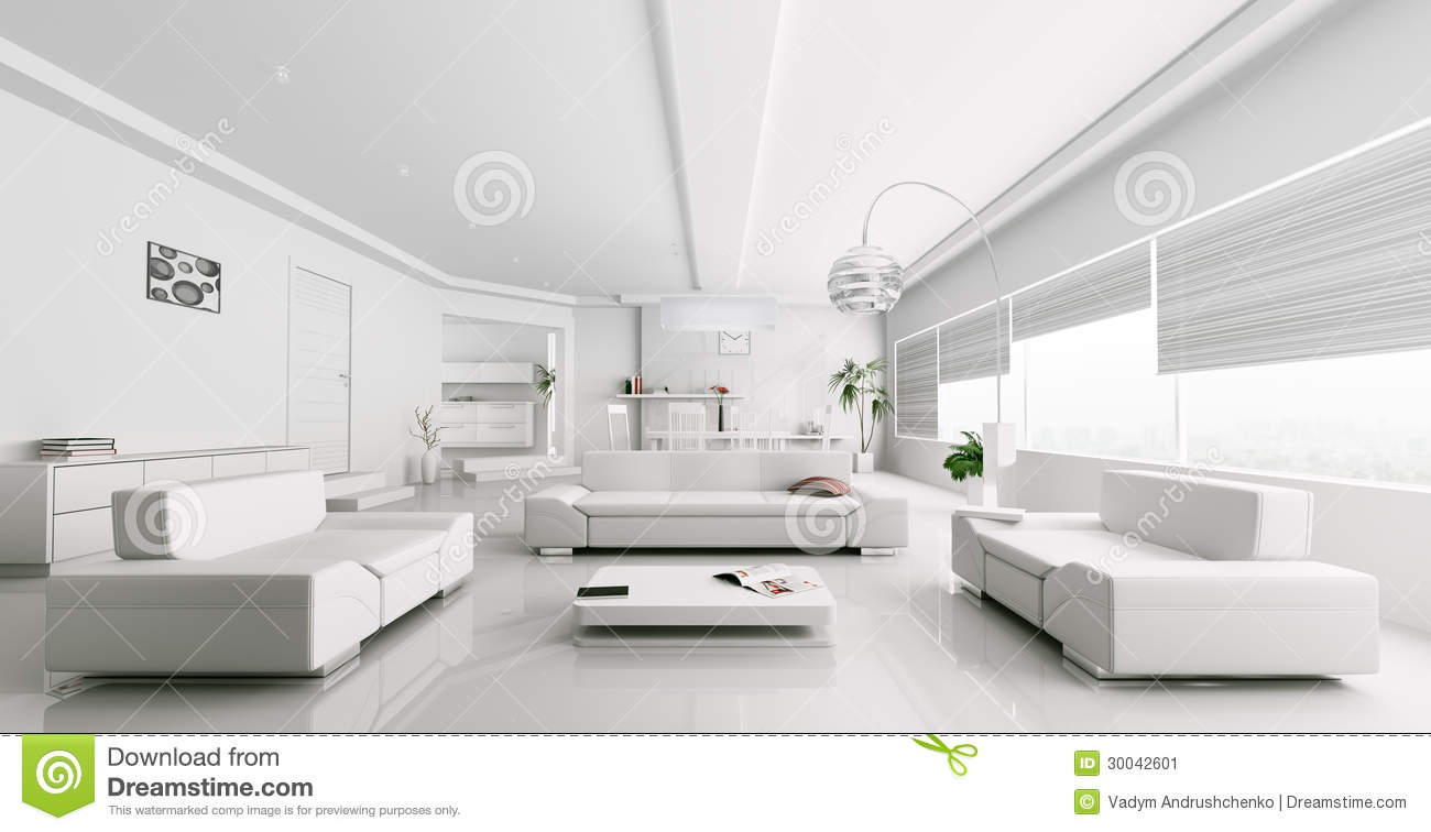 Interior Of Modern White Living Room Rendering Stock Illustration ...