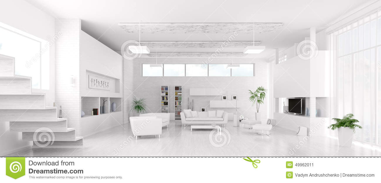 Interior Of Modern White Living Room Panorama Stock