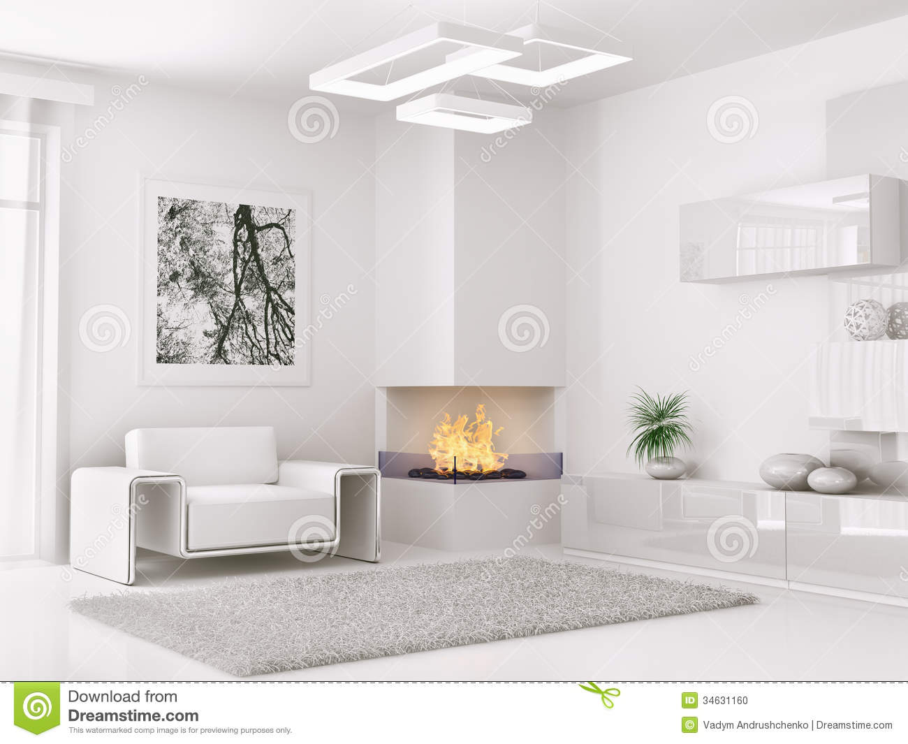 Master bedroom wall paint designs - Interior Of Modern White Room 3d Render Stock Photo