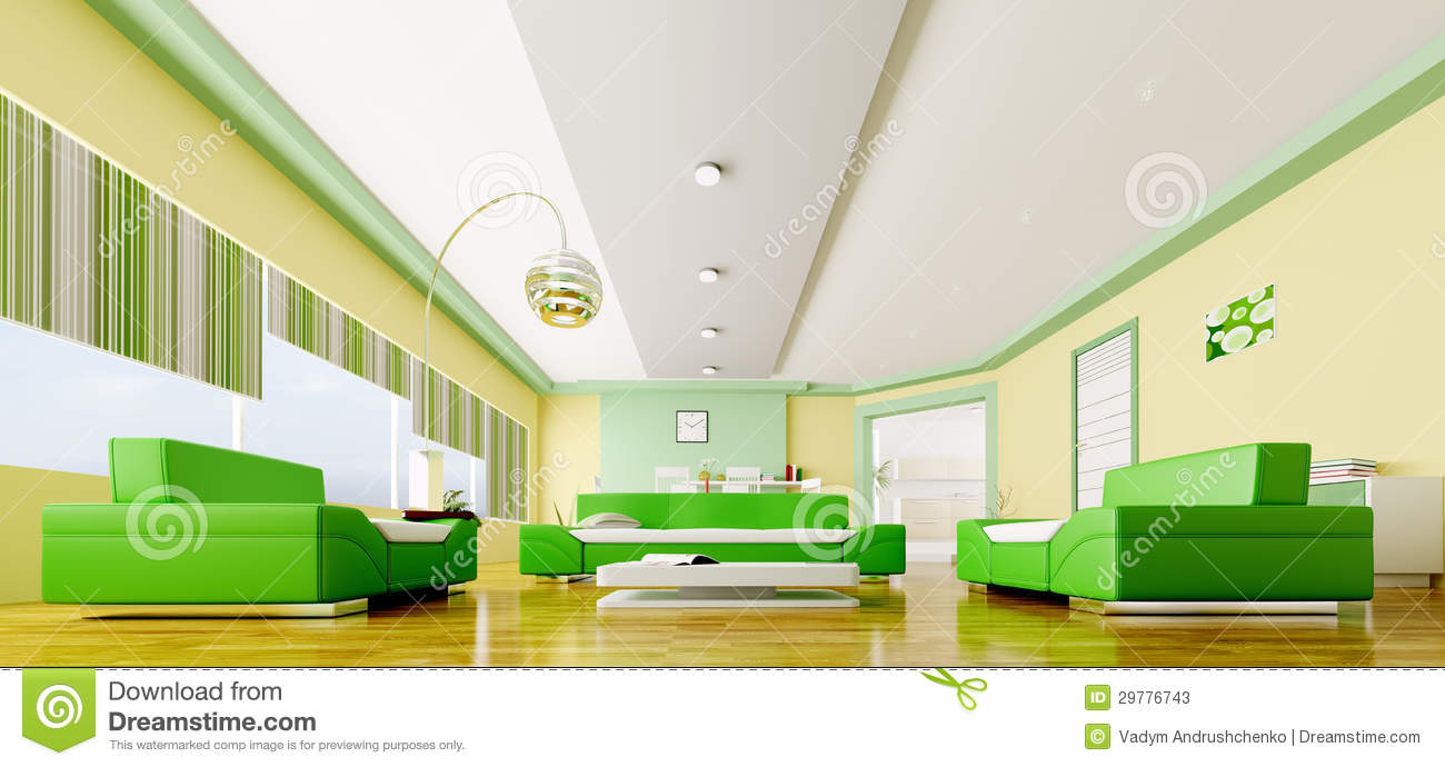 Green and yellow living room - Interior Of Modern Living Room Panorama 3d Stock Photos