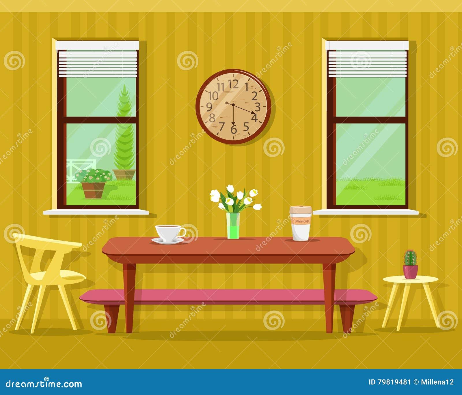 Interior moderno bonito da sala de jantar: tabela com copos e flores de café, cadeiras, pulso de disparo e janelas Grupo da mobíl