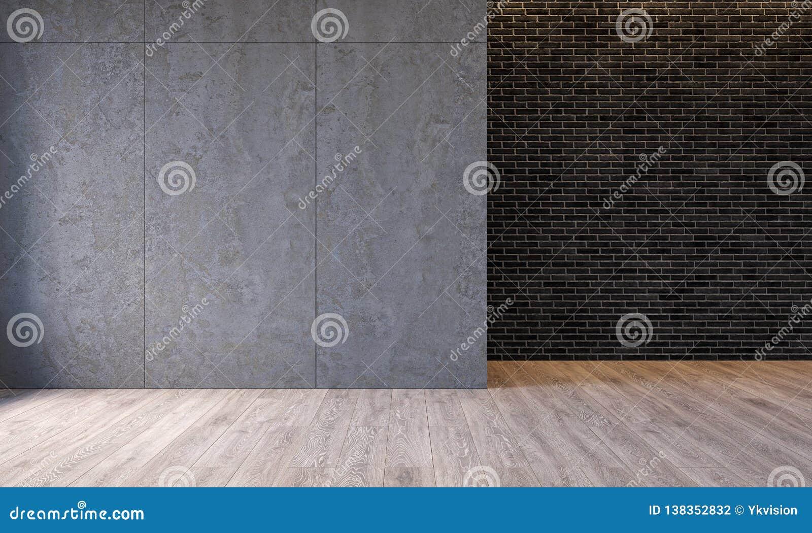 Interior moderno com os painéis de parede concretos do cimento da arquitetura, parede do sótão de tijolo, assoalho concreto Sala
