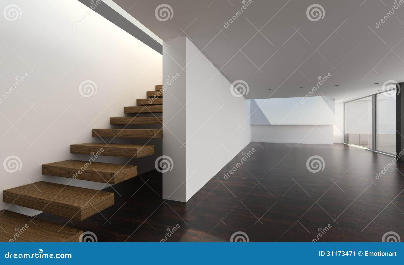 Interior moderno con las escaleras de madera for Escaleras arquitectura
