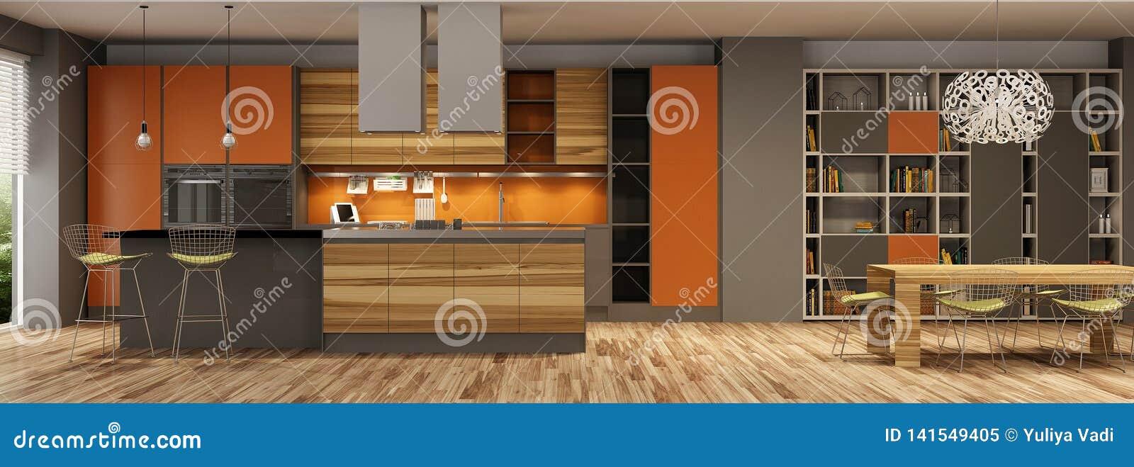 Interior moderno da casa da sala de visitas e de uma cozinha em cores bege e alaranjadas
