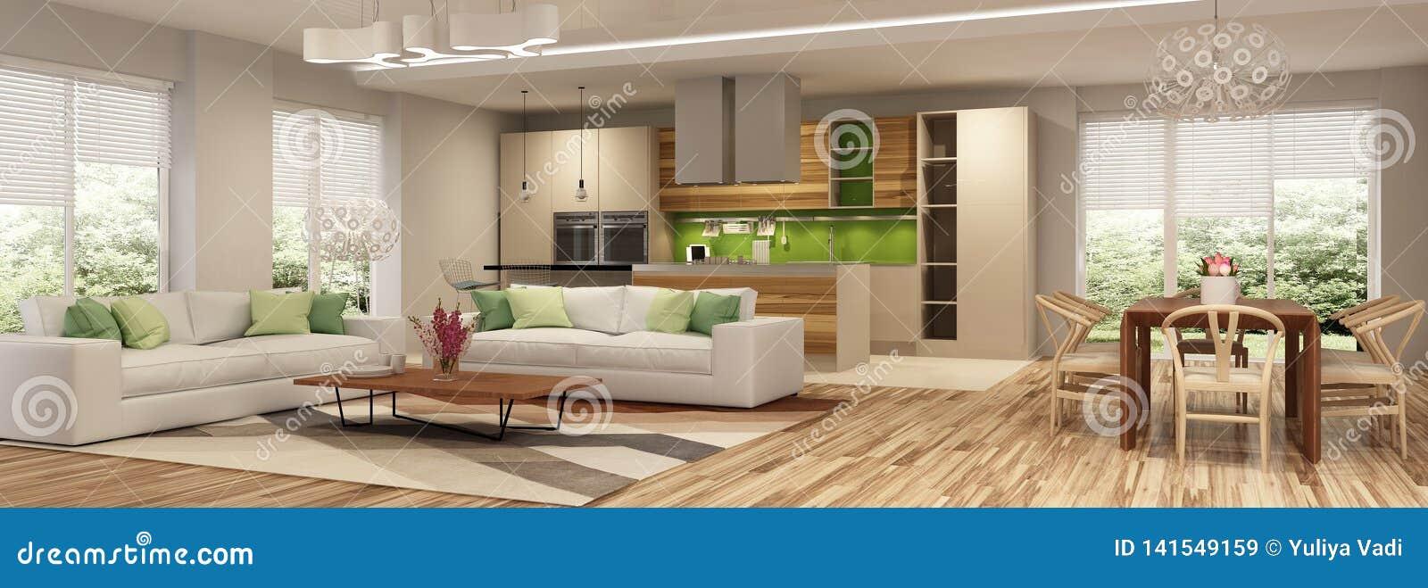 Interior moderno da casa da sala de visitas e de uma cozinha em cores bege e verdes
