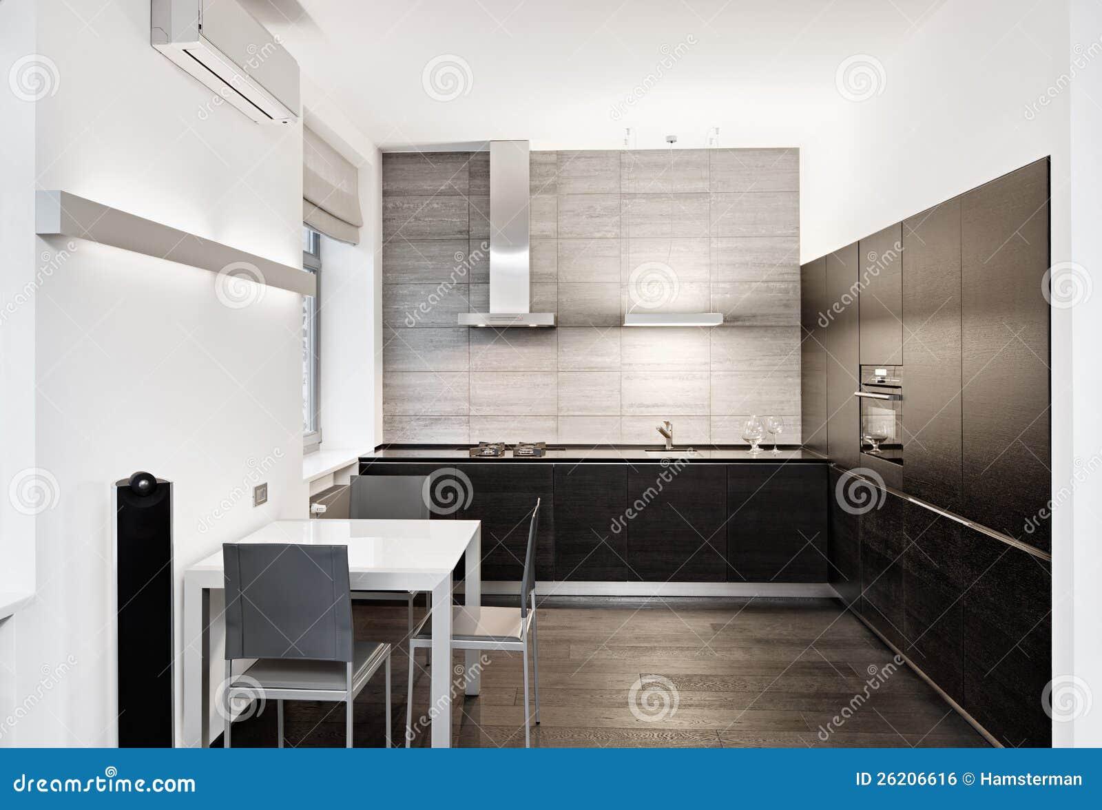 Interior Moderno Da Cozinha Do Estilo Do Minimalism Imagem de Stock  #82A328 1300 972