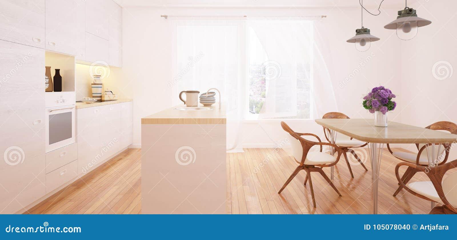 Interior moderno da cozinha e da sala de jantar
