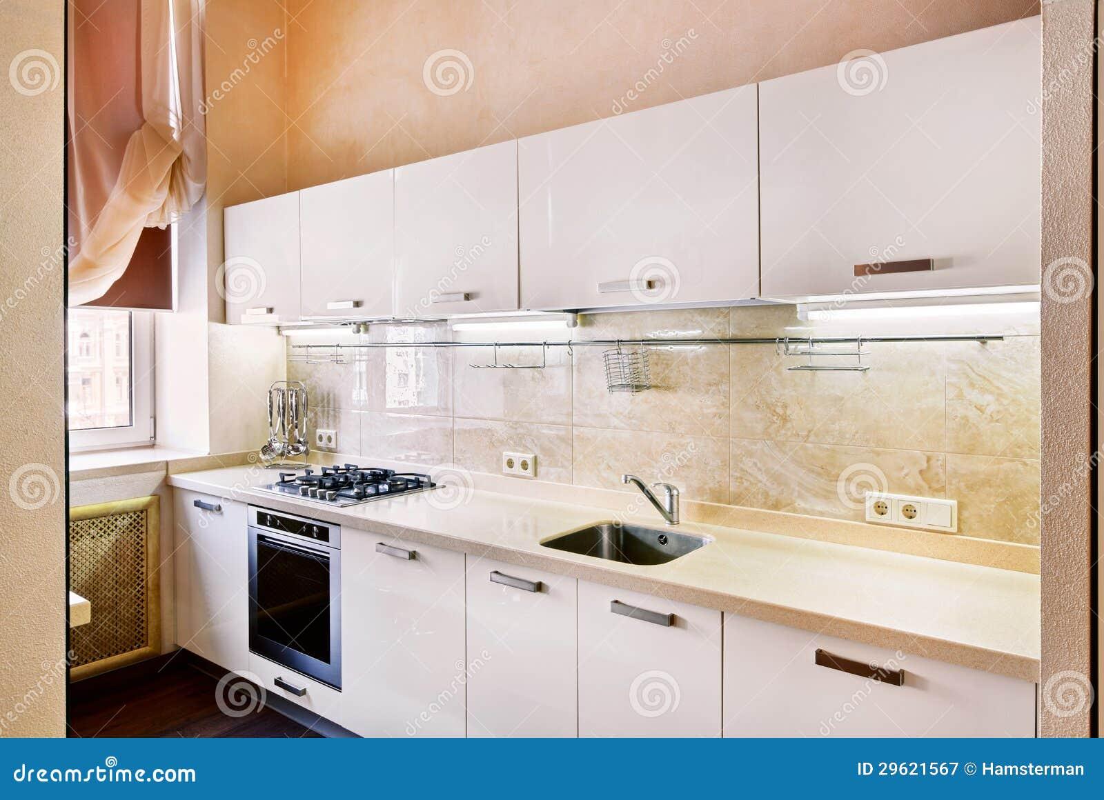 Interior Moderno Da Cozinha No Bege Fotografia de Stock Royalty Free  #82A229 1300 959