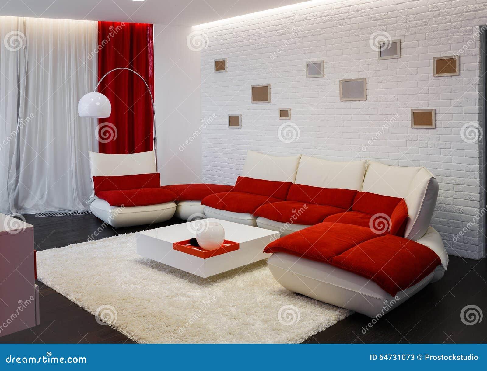 Interior Moderno Da Sala De Visitas Com Sof Vermelho Imagem De  -> Papel De Parede Para Sala Com Sofa Vermelho
