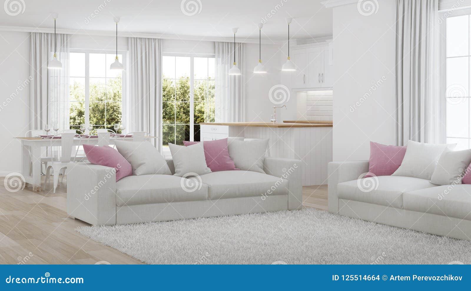 Interior moderno de la casa Interior blanco